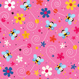 Bees and flowers pattern Royalty Free Stock Images