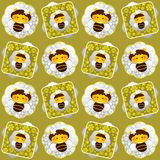 Bees and flowers seamless pattern. Stock Images