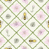 Bees and flowers seamless pattern Royalty Free Stock Image