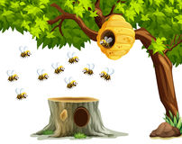 Bees flying around beehive on the tree. Illustration stock illustration