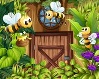 Bees flying around the garden Stock Photography