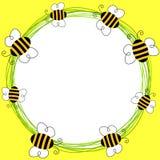 Bees flying frame vector illustration