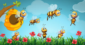 Bees flying out of beehive in the garden. Illustration Royalty Free Stock Photography