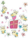Bees Gift_eps. Illustration of bees gift card. --- This .eps file info Version: Illustrator 8 EPS Document: 9 * 12 Inches (Width * Height) Document Color Mode stock illustration