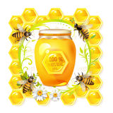 Bees with glass jar and honey. Over floral background isolated on white Royalty Free Stock Photo