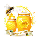 Bees with glass jar and honey Stock Photos