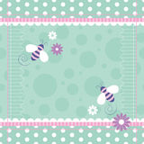 Bees greeting card. Cute bees border with striped pink and green polka dot frame on green bubbles background Royalty Free Illustration