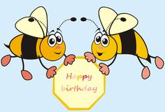 Bees-happy birthday. Two bees and flies bearing the inscription - Happy Birthday vector illustration