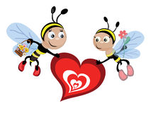 Bees with heart Royalty Free Stock Photography