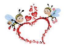 Bees with heart,frame. Bees with hearts, frame,isolated royalty free illustration