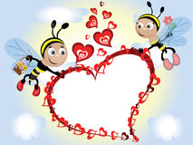 Bees with heart,frame Stock Images