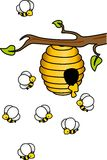 Bees in the Hive. Image representing a bees in the hive, isolated on white, vector design stock illustration