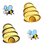 Bees and hives. Cartoon illustrated art vector illustration