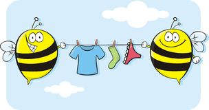 Bees holding clothesline! Stock Photos