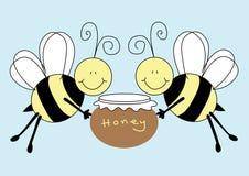 Bees holding a pot of honey. Illustration featuring a pair of cartoon bees holding a pot of honey vector illustration