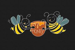 Bees with honey Colorful drawings in pop art style. Colorful drawings in pop art style royalty free illustration