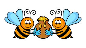 Bees with honey vector.Cartoon bees. Bees with honey vector,cartoon bees isolated on white background royalty free illustration