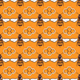 Bees, honey vector seamless pattern in brown and orange. Color, honeycomb illustration Stock Photos