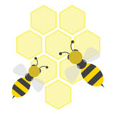 Bees on honeycells stock illustration