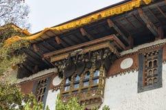 Bees honeycomb built at the roof of Punakha Dzong, Bhutan. Punakha Dzong or Pungthang Dewachen Phodrang Palace of Great Happiness in Punakha, the old capital of Royalty Free Stock Images