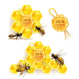 Bees with honeycombs. And quality seal isolated on white Royalty Free Stock Image