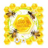 Bees and honeycombs. Over floral background isolated on white Stock Photo