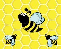 Bees on honeycombs Stock Photos