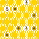 Bees, honeycombs and sunflowers, сolorful seamless pattern vector illustration