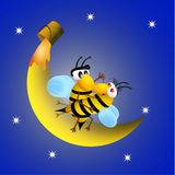 Bees on honeymoon. Bees in love on honeymoon vector illustration