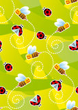 Bees and ladybugs seamless pattern royalty free stock photography