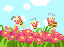 Bees looking for foods vector Stock Photo