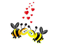 Bees love. Two small bees with many hearts Stock Images
