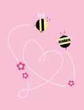 Bees love. Vector background with bees and heart shape line stock illustration