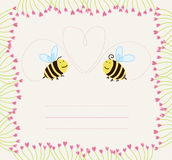 Bees in love with floral frame Stock Photography