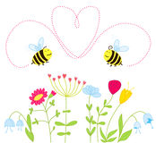 Bees in love over the flowers Stock Photography