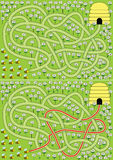 Bees maze. Easy bees maze for kids with solution stock illustration