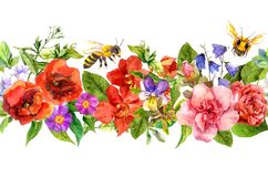 Bees, meadow flowers, summer grasses, wild leaves. Repeating floral horizontal border. Watercolor vector illustration