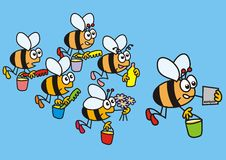 Bees and navigation. A swarm of bees with navigator - humorous illustration vector illustration