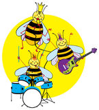 Bees playing instruments. Illustration of queen bee singing into a microphone and bees playing guitar and drum set on a yellow circle isolated against a white Royalty Free Stock Image