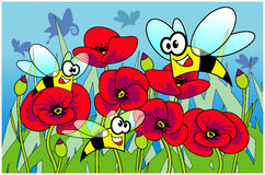 Bees and poppies. Funny illustration of a meadow with bees and poppies Stock Photography
