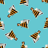 Bees seamless pattern. Abstract honeybee colorful  background. Funny bright texture for wallpaper, wrapping, textile design, Stock Photo