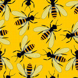 Bees seamless pattern. Bright yellow background with large bees. Royalty Free Stock Images