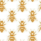 Bees seamless pattern Stock Photography