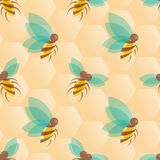 Bees seamless pattern Stock Photo