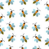 Bees seamless texture. Bees background wallpaper. Vector illustration Stock Photo