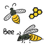 Bees set. Doodle logos of bee and honeycomb. Stock Image