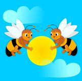 Bees and sun Stock Photography