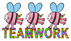 Bees teamwork. A group of bees carrying a teamwork word with flower design stock illustration