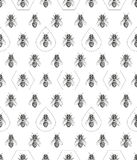 Bees texture. Seamless pattern. Realistic graphic illustration. Background.  stock illustration