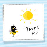 Bees thank you card. Bee vector cartoon thank you card illustration Stock Photo